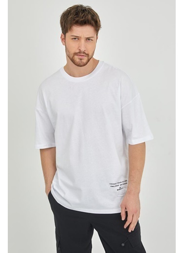 XHAN Yeşil Erkek T-Shirt 1Kxe1-44793-08 Beyaz